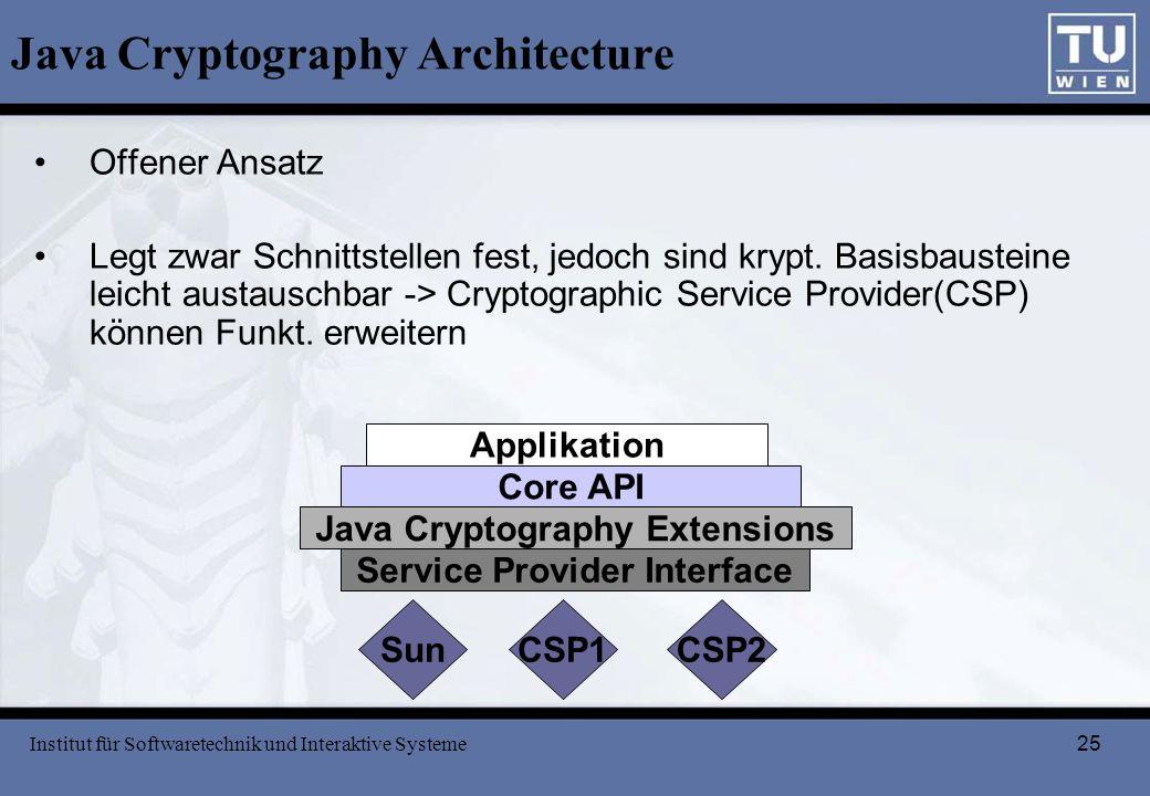 25 Java Cryptography Architecture Offener Ansatz Legt zwar Schnittstellen fest, jedoch sind krypt. Basisbausteine leicht austauschbar -> Cryptographic