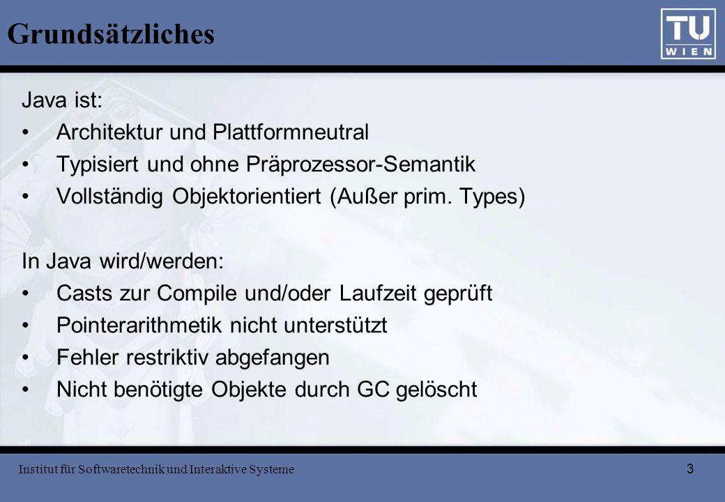 3 Grundsätzliches Java ist: Architektur und Plattformneutral Typisiert und ohne Präprozessor-Semantik Vollständig Objektorientiert (Außer prim. Types)