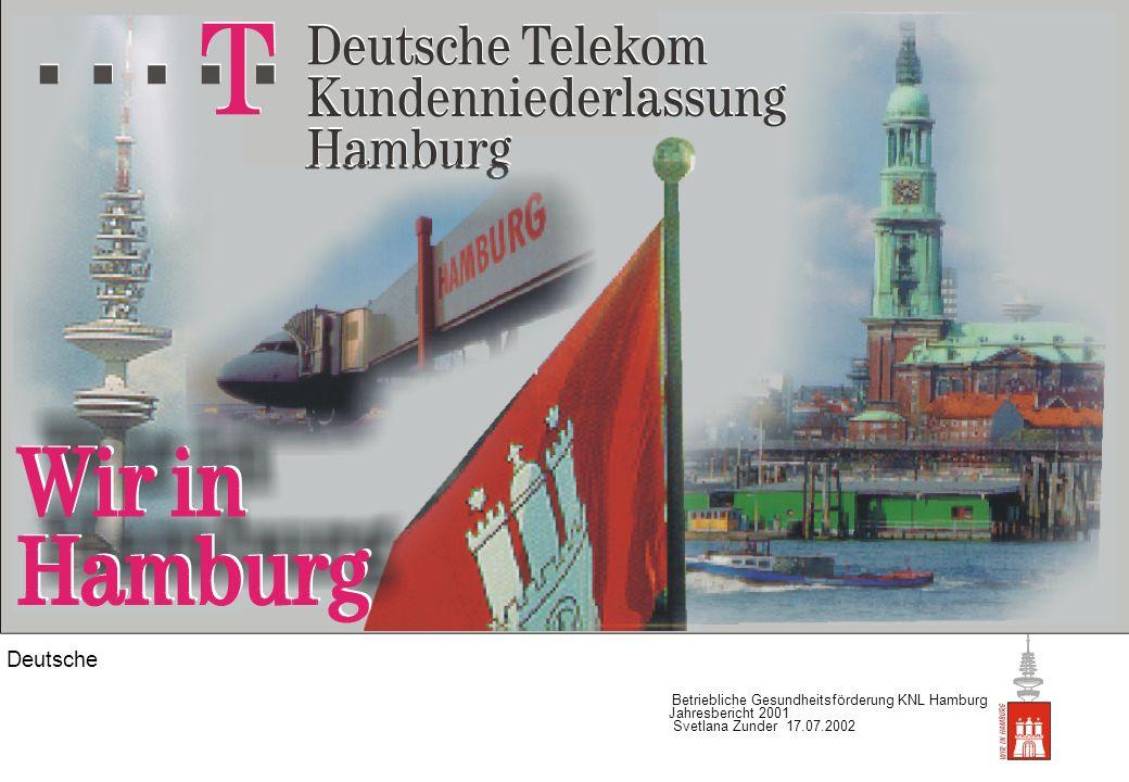 Deutsche Betriebliche Gesundheitsförderung KNL Hamburg Jahresbericht 2001 Svetlana Zunder 17.07.2002 Betriebliche Gesundheitsförderung Jahresbericht 2001 Kundenniederlassung Hamburg