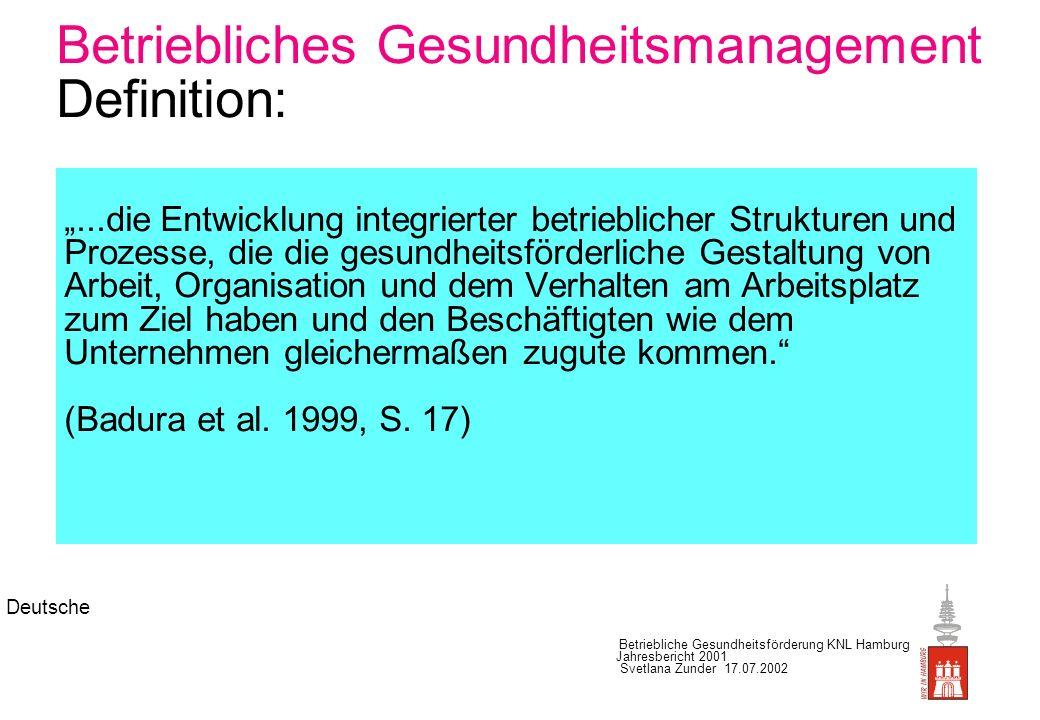 Deutsche Betriebliche Gesundheitsförderung KNL Hamburg Jahresbericht 2001 Svetlana Zunder 17.07.2002 Betriebliches Gesundheitsmanagement (Lernzyklus) Diagnosestellung Planung Durchführung Evaluation Rückkopplung