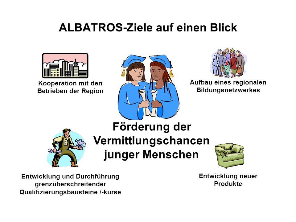 ALBATROS-Ziele auf einen Blick Förderung der Vermittlungschancen junger Menschen Kooperation mit den Betrieben der Region Aufbau eines regionalen Bild