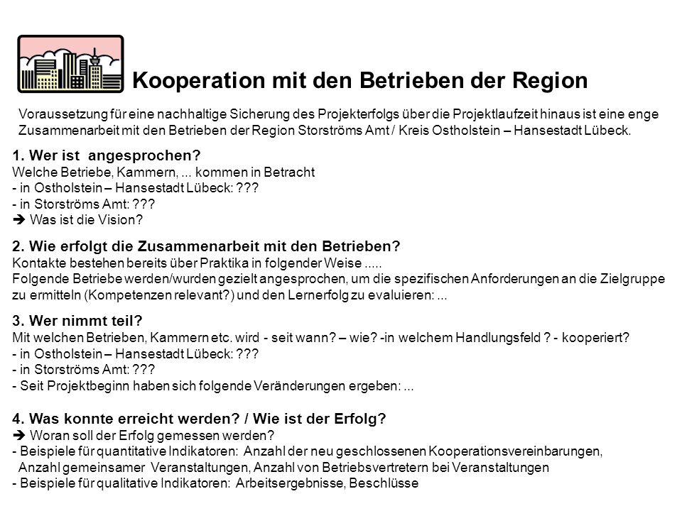 Kooperation mit den Betrieben der Region 1. Wer ist angesprochen? Welche Betriebe, Kammern,... kommen in Betracht - in Ostholstein – Hansestadt Lübeck