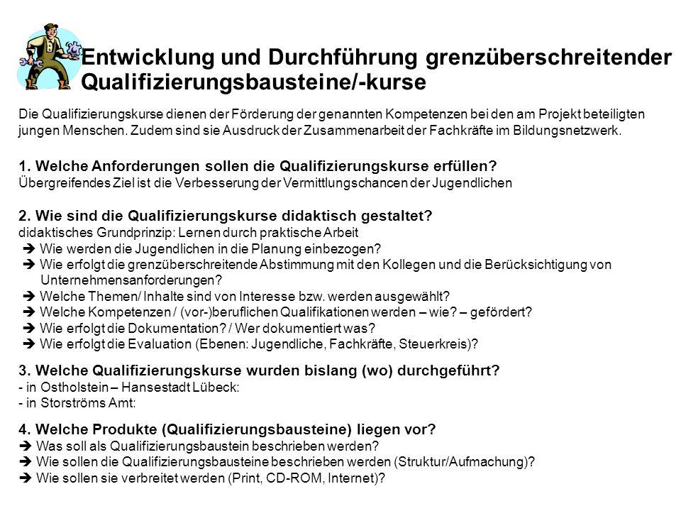 Entwicklung und Durchführung grenzüberschreitender Qualifizierungsbausteine/-kurse 1. Welche Anforderungen sollen die Qualifizierungskurse erfüllen? Ü