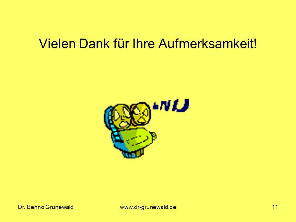 Dr. Benno Grunewaldwww.dr-grunewald.de11 Vielen Dank für Ihre Aufmerksamkeit!