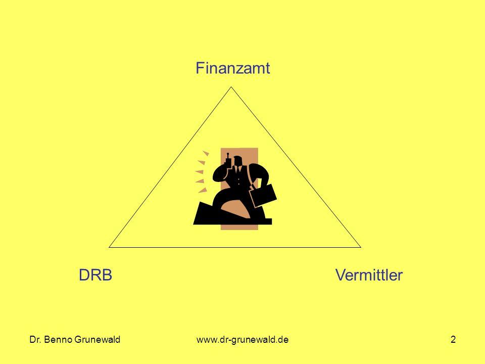 Dr. Benno Grunewaldwww.dr-grunewald.de2 DRBVermittler Finanzamt