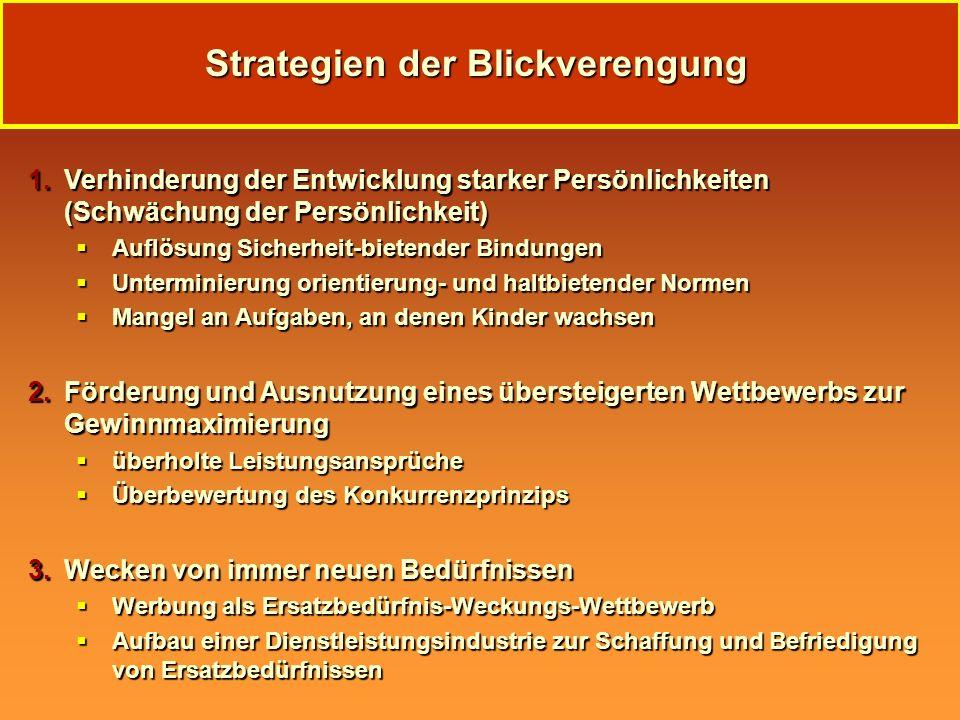 Strategien der Blickverengung 1.Verhinderung der Entwicklung starker Persönlichkeiten (Schwächung der Persönlichkeit) Auflösung Sicherheit-bietender B