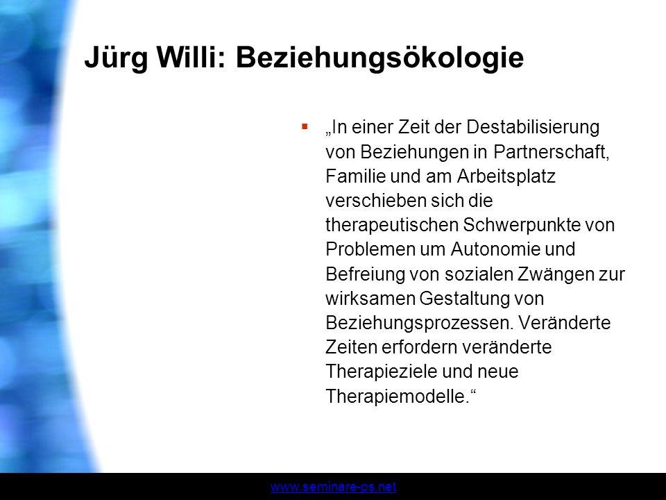 www.seminare-ps.net Jürg Willi: Beziehungsökologie In einer Zeit der Destabilisierung von Beziehungen in Partnerschaft, Familie und am Arbeitsplatz ve