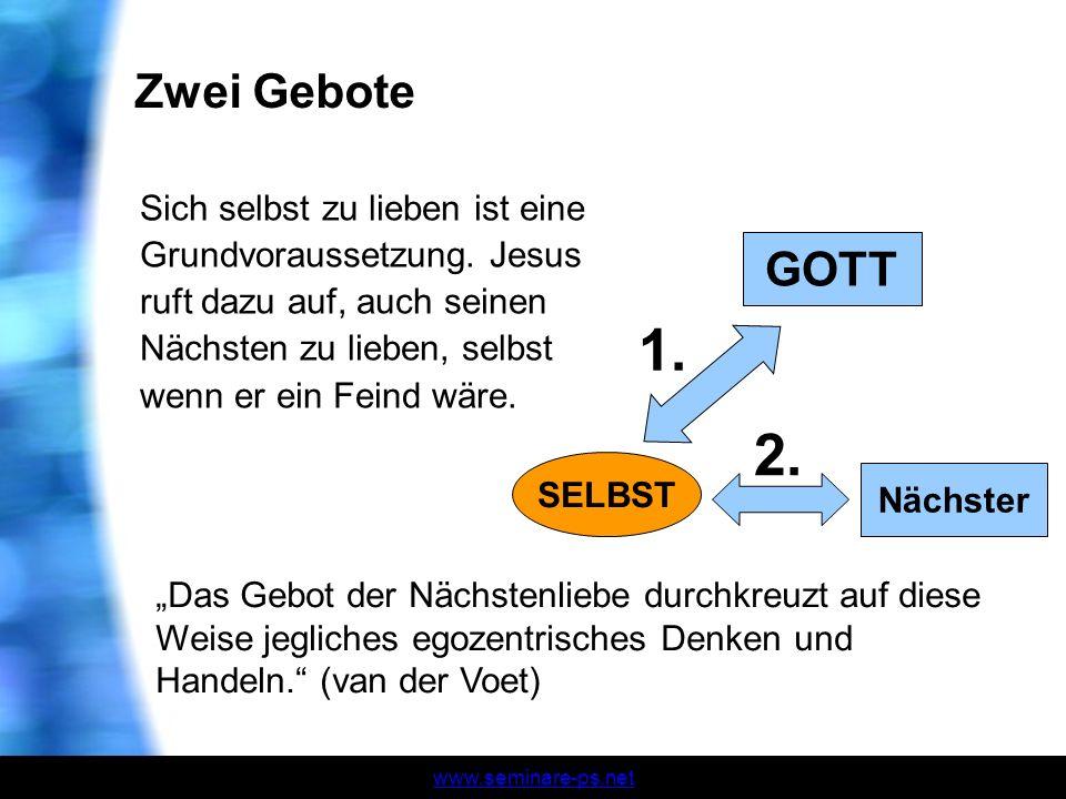 www.seminare-ps.net Zwei Gebote Sich selbst zu lieben ist eine Grundvoraussetzung. Jesus ruft dazu auf, auch seinen Nächsten zu lieben, selbst wenn er
