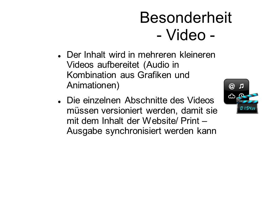 Besonderheit - Video - Der Inhalt wird in mehreren kleineren Videos aufbereitet (Audio in Kombination aus Grafiken und Animationen) Die einzelnen Absc
