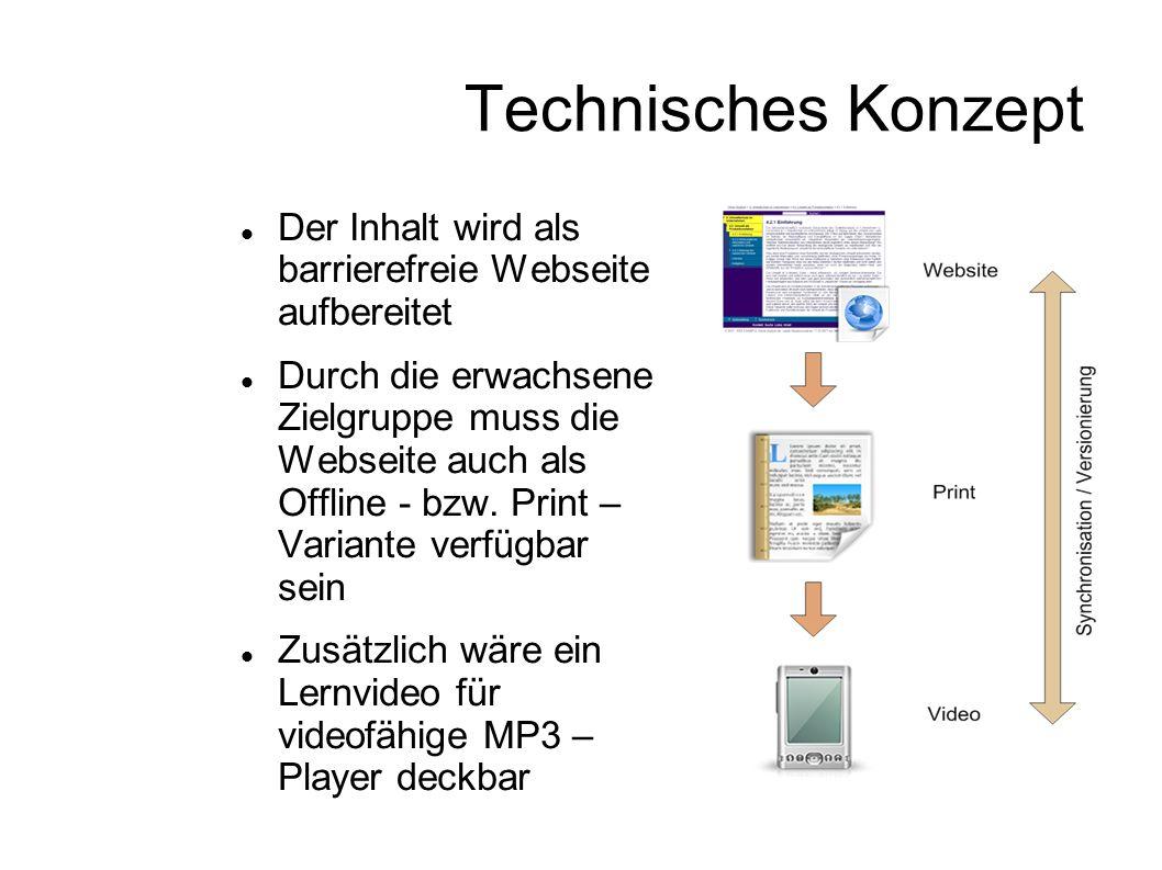 Technisches Konzept Der Inhalt wird als barrierefreie Webseite aufbereitet Durch die erwachsene Zielgruppe muss die Webseite auch als Offline - bzw. P