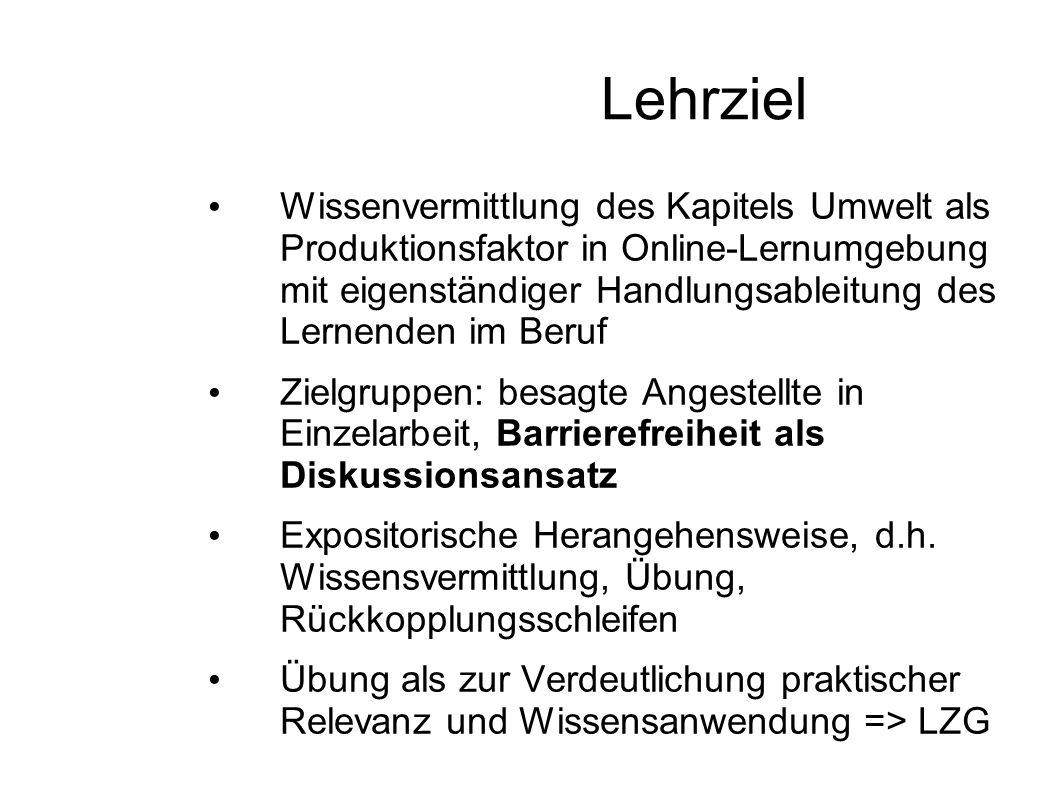Lehrziel Wissenvermittlung des Kapitels Umwelt als Produktionsfaktor in Online-Lernumgebung mit eigenständiger Handlungsableitung des Lernenden im Ber
