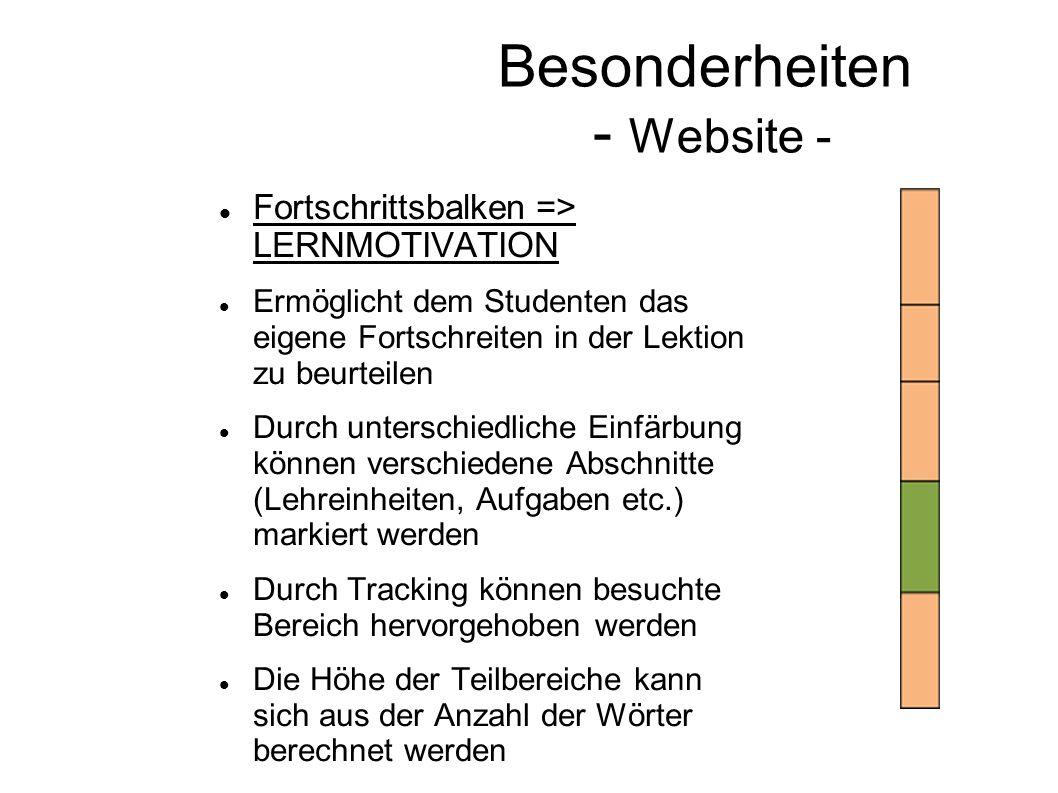 Besonderheiten - Website - Fortschrittsbalken => LERNMOTIVATION Ermöglicht dem Studenten das eigene Fortschreiten in der Lektion zu beurteilen Durch u