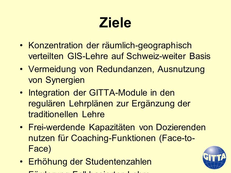Ziele Konzentration der räumlich-geographisch verteilten GIS-Lehre auf Schweiz-weiter Basis Vermeidung von Redundanzen, Ausnutzung von Synergien Integ