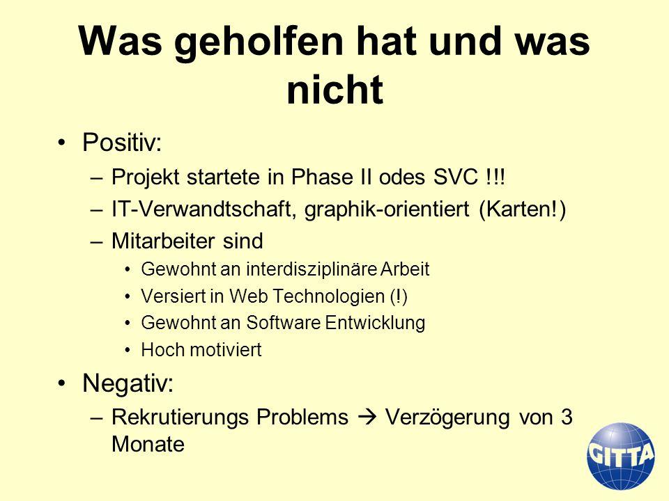 Was geholfen hat und was nicht Positiv: –Projekt startete in Phase II odes SVC !!! –IT-Verwandtschaft, graphik-orientiert (Karten!) –Mitarbeiter sind