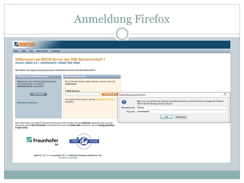 Anmeldung Firefox