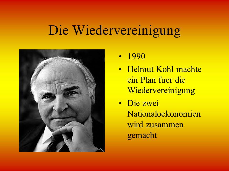Probleme mit der Wiedervereinigung Ostern Deutschland war immer noch sehr arm Die Regierung ignorierte die Verbrechen von vorige Sozialistischpartei Fuehrern