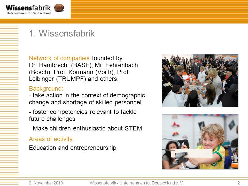 Agenda 1.Who we are: Wissensfabrik 2.Area of activity: education 3.Getting involved! Wissensfabrik - Unternehmen für Deutschland e. V. 2. November 201
