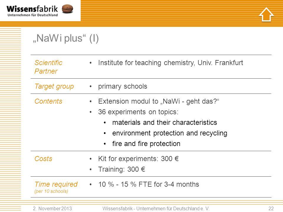 NaWi plus (I) Scientific Partner Institute for teaching chemistry, Univ.