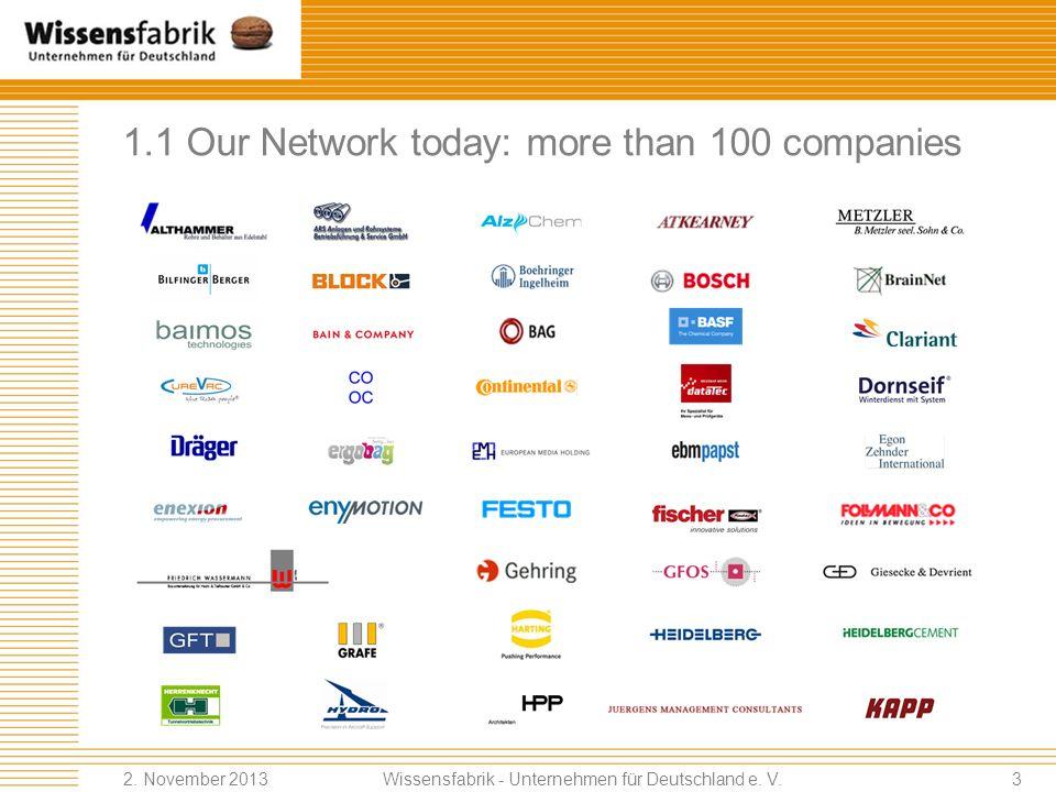 1.1 Our Network today: more than 100 companies Wissensfabrik - Unternehmen für Deutschland e.