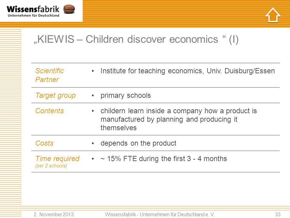 KIEWIS – Children discover economics (I) Scientific Partner Institute for teaching economics, Univ.