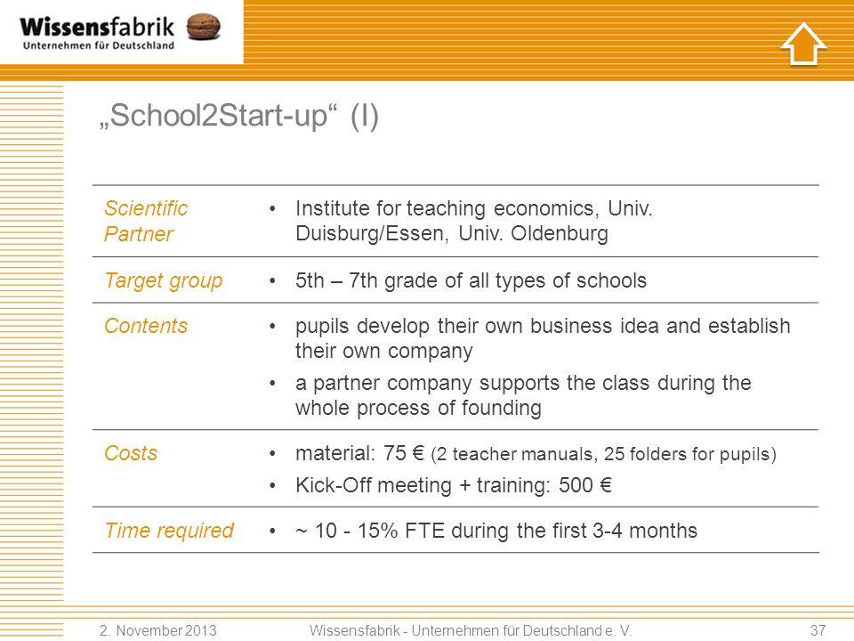 School2Start-up (I) Scientific Partner Institute for teaching economics, Univ.