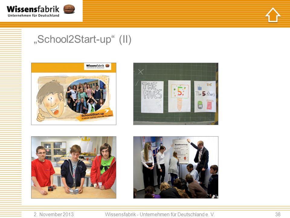 School2Start-up (II) Wissensfabrik - Unternehmen für Deutschland e. V. 2. November 201338