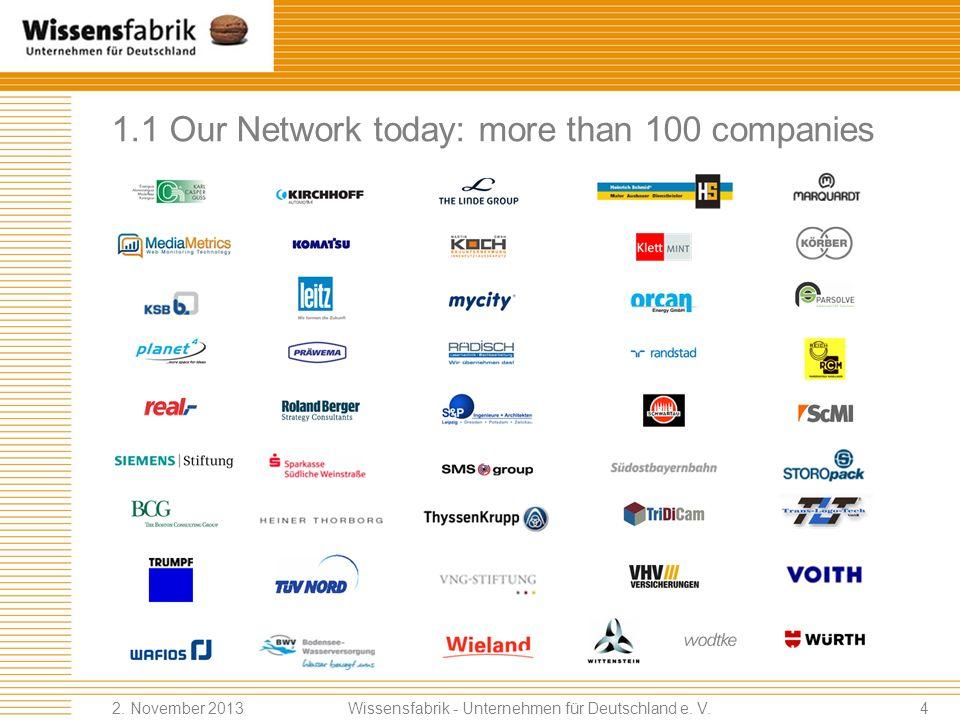 1.1 Our Network today: more than 100 companies Wissensfabrik - Unternehmen für Deutschland e. V. 2. November 20133