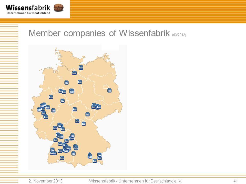 Member companies of Wissenfabrik (03/2012) Wissensfabrik - Unternehmen für Deutschland e.