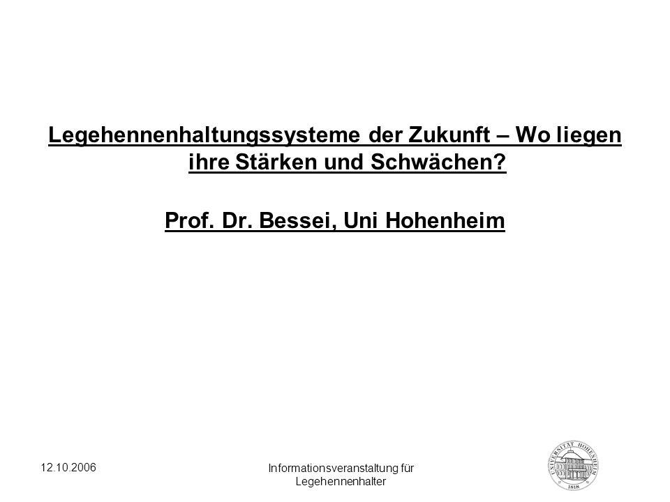 12.10.2006 Informationsveranstaltung für Legehennenhalter Legehennenhaltungssysteme der Zukunft – Wo liegen ihre Stärken und Schwächen? Prof. Dr. Bess