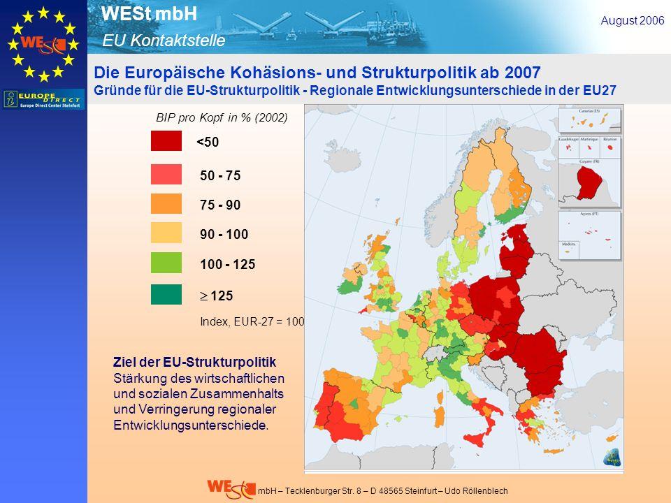 EU Kontaktstelle WESt mbH mbH – Tecklenburger Str. 8 – D 48565 Steinfurt – Udo Röllenblech Die Europäische Kohäsions- und Strukturpolitik ab 2007 Grün