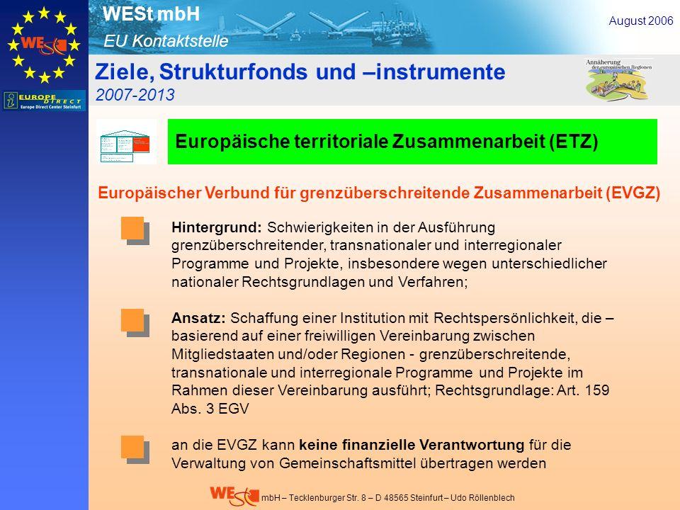 EU Kontaktstelle WESt mbH mbH – Tecklenburger Str. 8 – D 48565 Steinfurt – Udo Röllenblech Hintergrund: Schwierigkeiten in der Ausführung grenzübersch