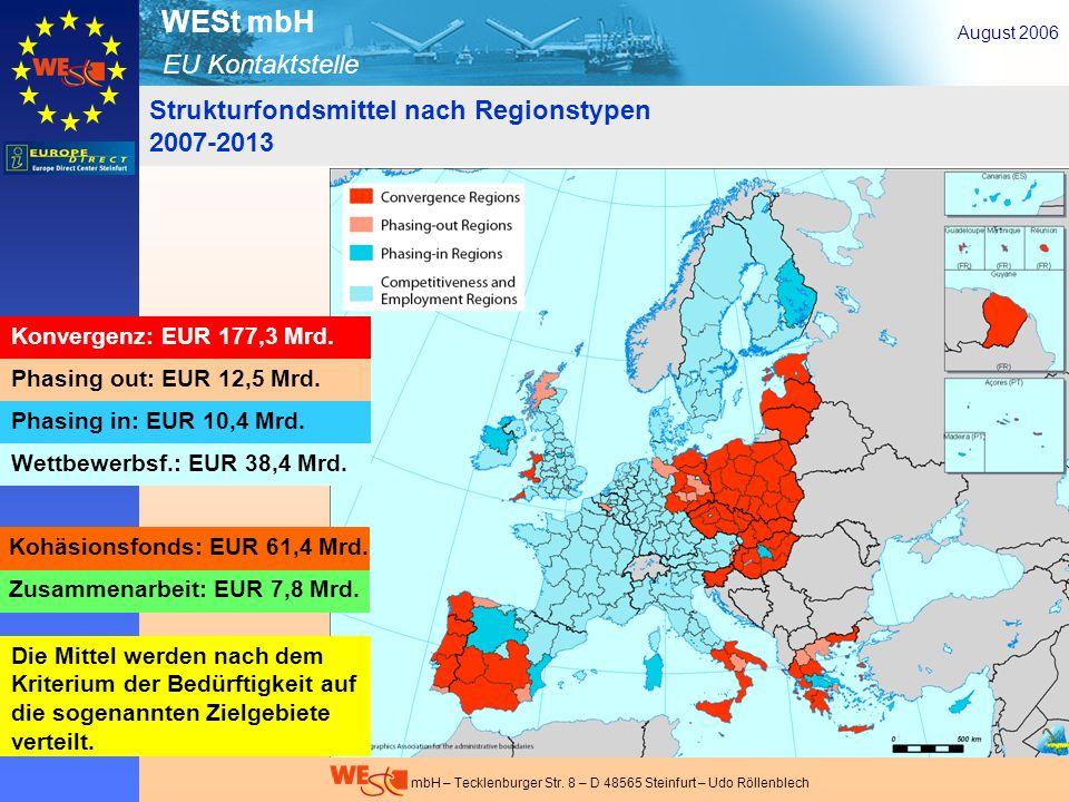 EU Kontaktstelle WESt mbH mbH – Tecklenburger Str. 8 – D 48565 Steinfurt – Udo Röllenblech August 2006 Strukturfondsmittel nach Regionstypen 2007-2013
