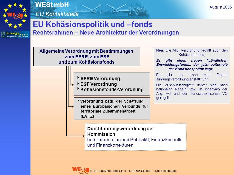 EU Kontaktstelle WESt mbH mbH – Tecklenburger Str. 8 – D 48565 Steinfurt – Udo Röllenblech EU Kohäsionspolitik und –fonds Rechtsrahmen – Neue Architek
