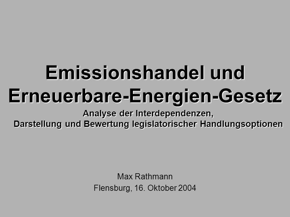 Emissionshandel und Erneuerbare-Energien-Gesetz Max Rathmann Flensburg, 16. Oktober 2004 Analyse der Interdependenzen, Darstellung und Bewertung legis