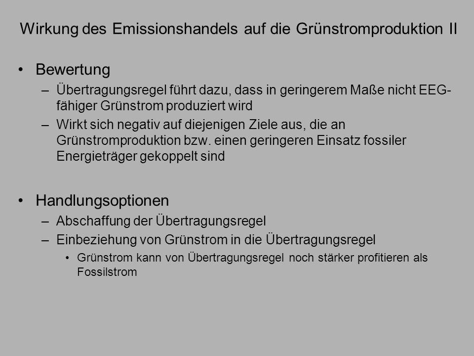 Wirkung des Emissionshandels auf die Grünstromproduktion II Bewertung –Übertragungsregel führt dazu, dass in geringerem Maße nicht EEG- fähiger Grünst