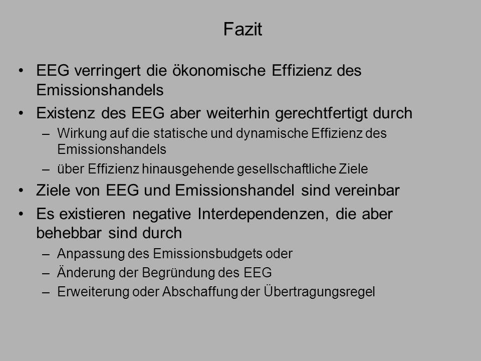 Fazit EEG verringert die ökonomische Effizienz des Emissionshandels Existenz des EEG aber weiterhin gerechtfertigt durch –Wirkung auf die statische un