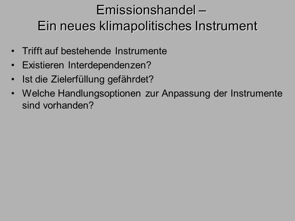 Emissionshandel – Ein neues klimapolitisches Instrument Emissionshandel – Ein neues klimapolitisches Instrument Trifft auf bestehende Instrumente Exis