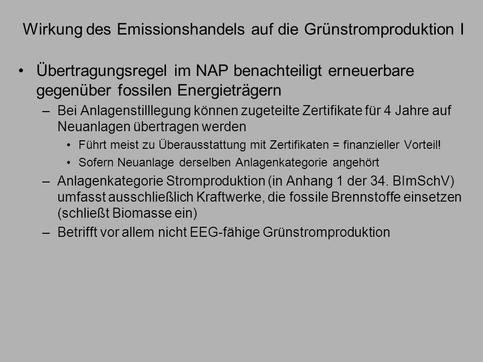 Wirkung des Emissionshandels auf die Grünstromproduktion II Bewertung –Übertragungsregel führt dazu, dass in geringerem Maße nicht EEG- fähiger Grünstrom produziert wird –Wirkt sich negativ auf diejenigen Ziele aus, die an Grünstromproduktion bzw.