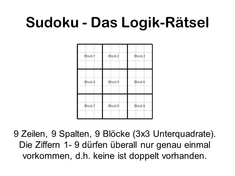 Sudoku - Das Logik-Rätsel 9 Zeilen, 9 Spalten, 9 Blöcke (3x3 Unterquadrate). Die Ziffern 1- 9 dürfen überall nur genau einmal vorkommen, d.h. keine is