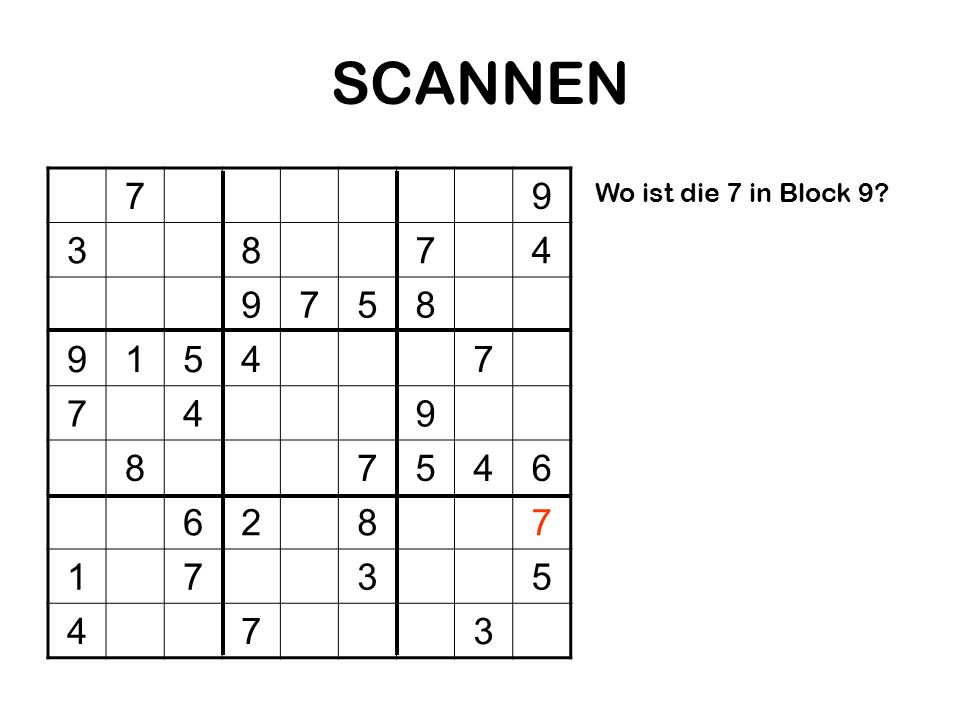SCANNEN 79 3874 9758 91547 749 87546 6287 1735 473 Wo ist die 7 in Block 9?