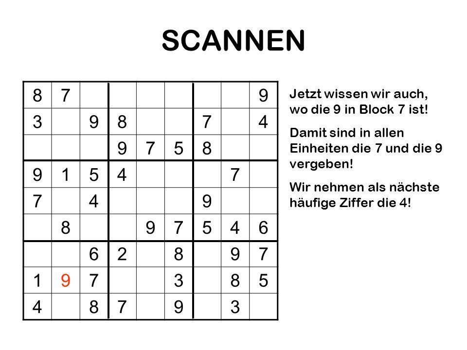 SCANNEN 879 39874 9758 91547 749 897546 62897 197385 48793 Jetzt wissen wir auch, wo die 9 in Block 7 ist! Damit sind in allen Einheiten die 7 und die