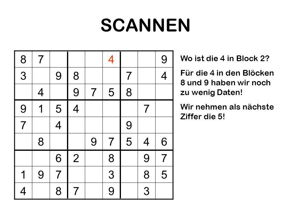 SCANNEN 8749 39874 49758 91547 749 897546 62897 197385 48793 Wo ist die 4 in Block 2? Für die 4 in den Blöcken 8 und 9 haben wir noch zu wenig Daten!