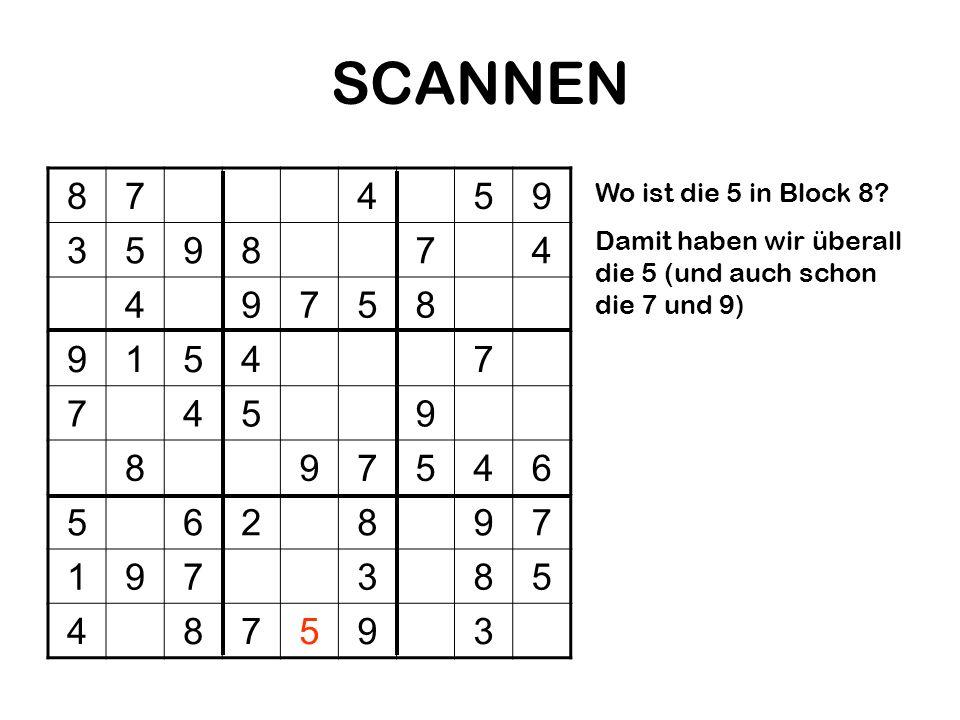 SCANNEN 87459 359874 49758 91547 7459 897546 562897 197385 487593 Wo ist die 5 in Block 8? Damit haben wir überall die 5 (und auch schon die 7 und 9)