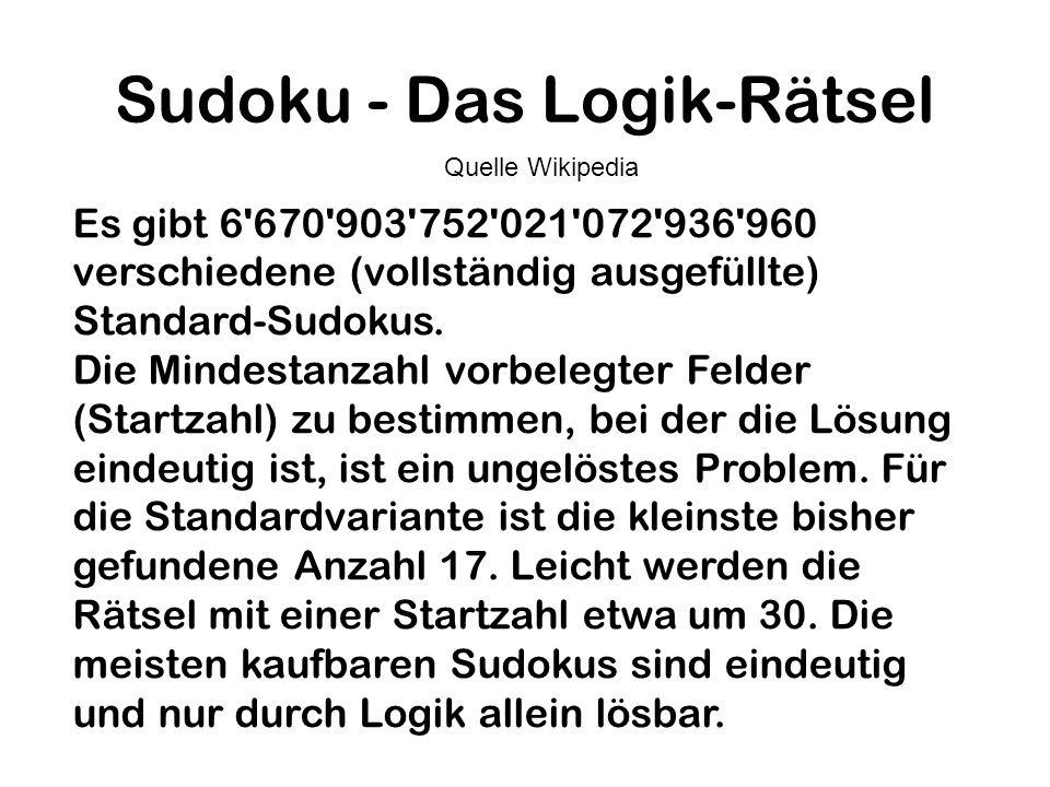 Sudoku - Das Logik-Rätsel Es gibt 6'670'903'752'021'072'936'960 verschiedene (vollständig ausgefüllte) Standard-Sudokus. Die Mindestanzahl vorbelegter