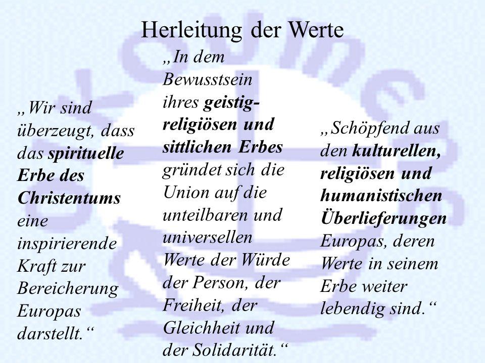 Vergleich: Präambel der Grundrechte- Charta und Charta Oecumenica Die Völker Europas sind entschlossen, auf der Grundlage gemeinsamer Werte eine fried