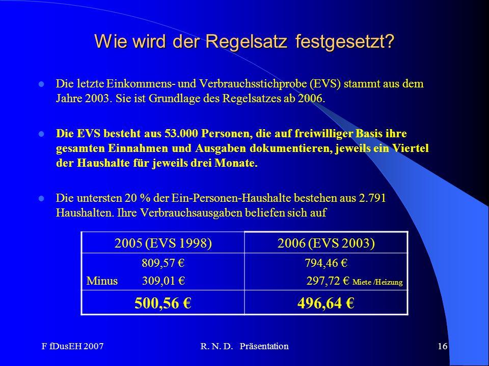 F fDusEH 2007R. N. D. Präsentation16 Wie wird der Regelsatz festgesetzt? Die letzte Einkommens- und Verbrauchsstichprobe (EVS) stammt aus dem Jahre 20
