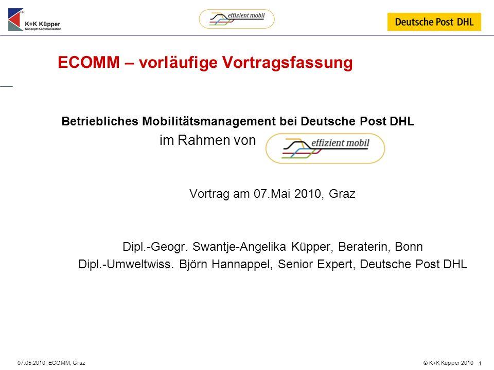 © K+K Küpper 2010 07.05.2010, ECOMM, Graz 1 ECOMM – vorläufige Vortragsfassung Betriebliches Mobilitätsmanagement bei Deutsche Post DHL im Rahmen von
