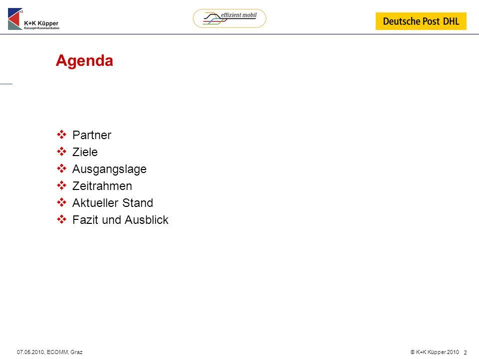 © K+K Küpper 2010 07.05.2010, ECOMM, Graz 2 Agenda Partner Ziele Ausgangslage Zeitrahmen Aktueller Stand Fazit und Ausblick
