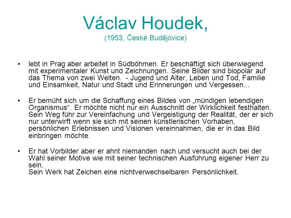 Václav Houdek, (1953, České Budějovice) lebt in Prag aber arbeitet in Südböhmen. Er beschäftigt sich überwiegend mit experimentaler Kunst und Zeichnun