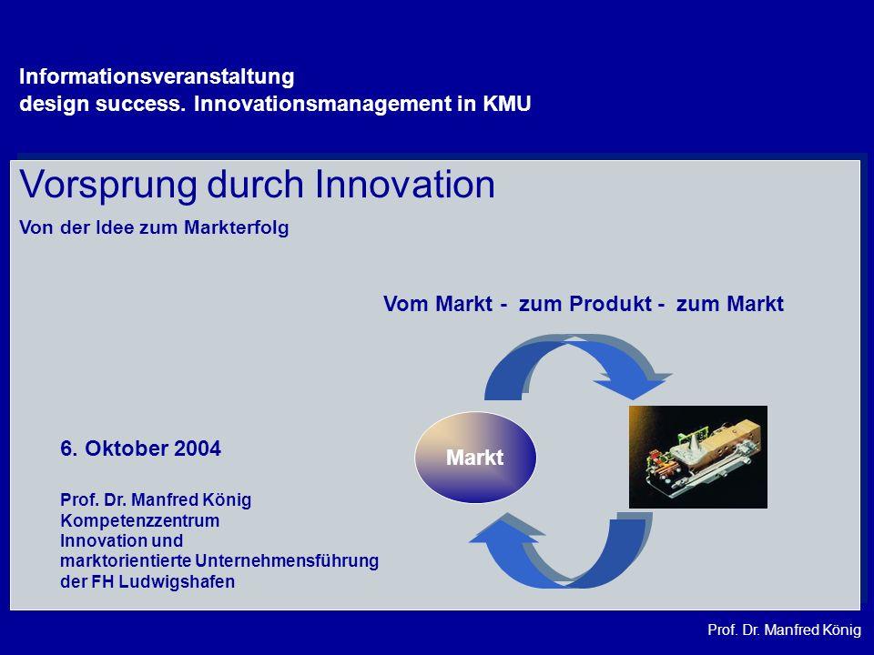 Prof. Dr. Manfred König Vom Markt - zum Produkt - zum Markt Markt Vorsprung durch Innovation Von der Idee zum Markterfolg Prof. Dr. Manfred König Komp